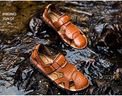 TM Mens Top Layer Leather Bionic Platypus Toe Lazy Tape Baotou Sandals M 41 EU, Coffee HAPPYSHOP