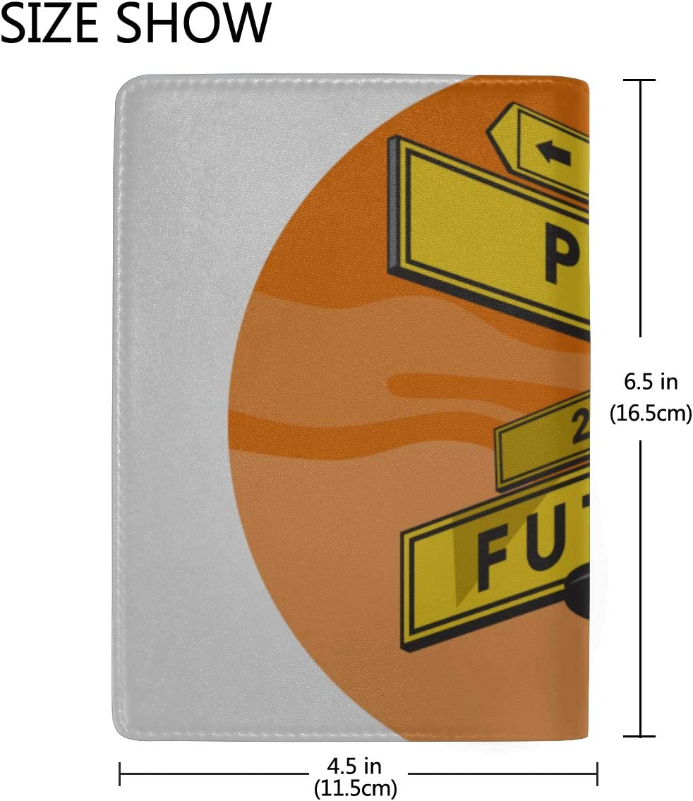 Street Style Wooden Road Signs Blocking Print Passport Holder Cover Case Travel Luggage Passport Wallet Card Holder Made With Leather For Men Women Kids Family