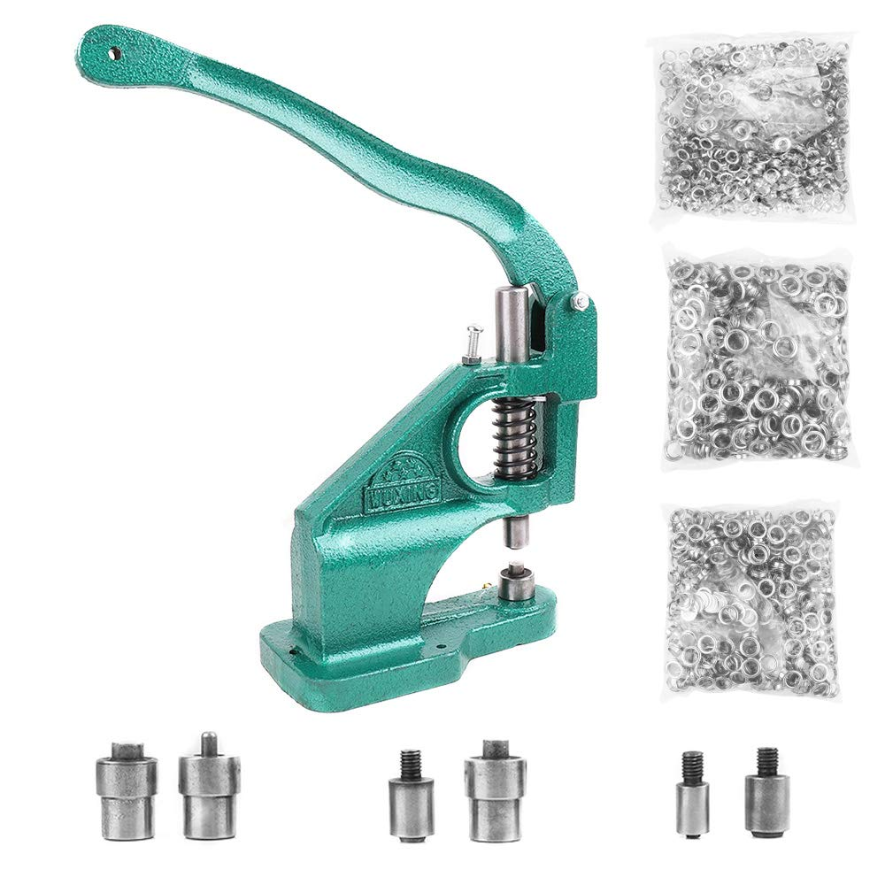 Hand Press Heavy Duty Grommet Machine with 3 Dies (#0 #2 #4) and 1500 Pcs Grommets Eyelet Tool Kit by Amon Tech