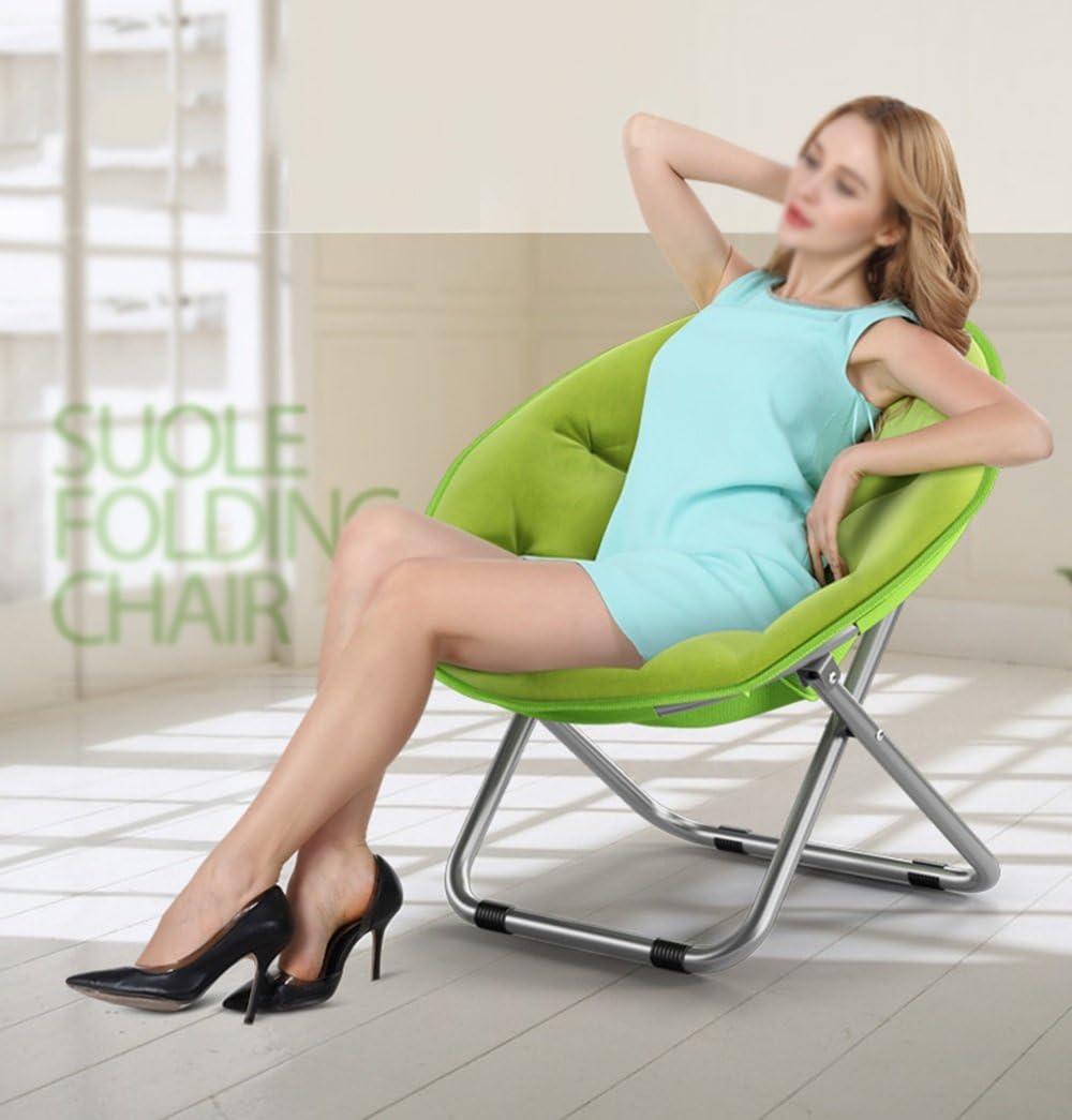Folding Chairs Casa al Aire Libre Gran Luna Silla para Adultos//Sill/ón de Sol//Sill/ón reclinable//Sill/ón//Plegable//Silla Redonda//Sill/ón Color : Blue