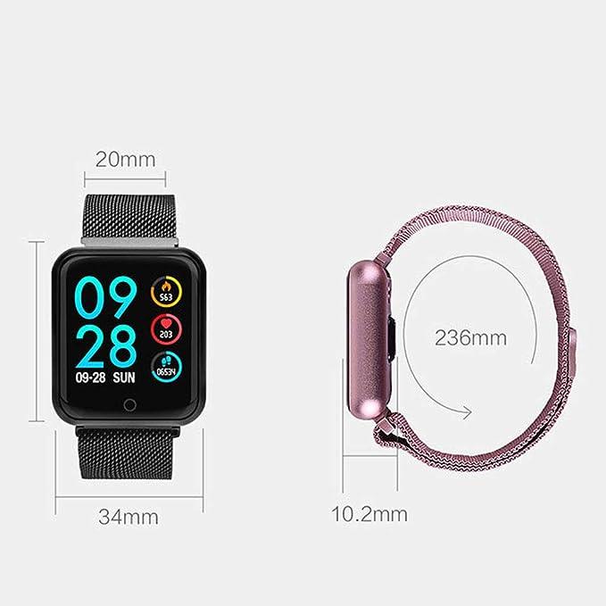 DUOER home IP68 Inteligente Pantalla de Color Frecuencia Cardíaca Presiómetro de la Presión Arterial Monitor de Sueño Reloj Bluetooth (Color : Pink)