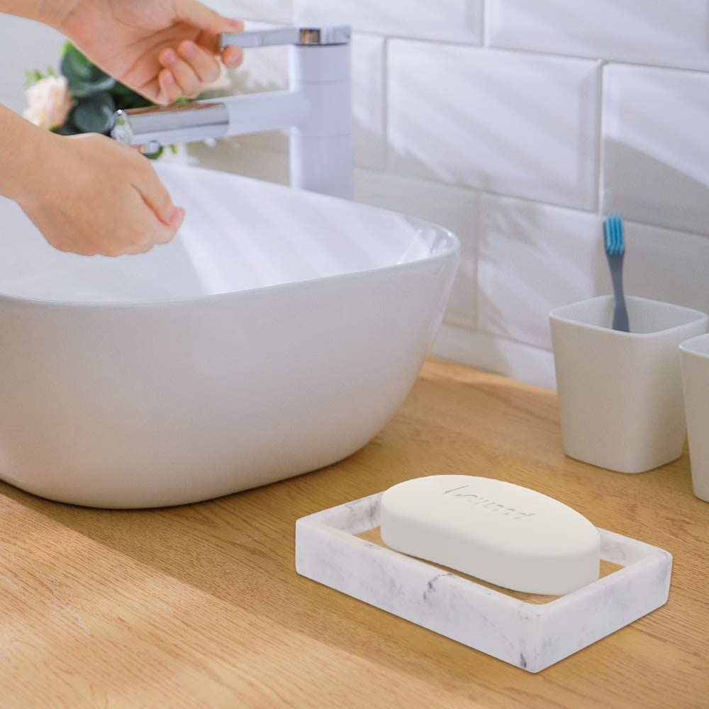 Double Layer Draining Soap Container Resin Soap Dish Draining with Bamboo Chip Soap Bar Holder Box for Shower Bathroom Kitchen Sink Oval Marble Soap Tray Lewondr Soap Dish Tray Blanco