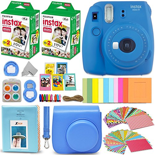 Fujifilm Instax Mini 9 Instant Camera COBALT BLUE + Fuji INSTAX Film (40 Sheets) + Accessories Kit Bundle + Custom Case with Strap + Assorted Frames + Photo Album + 60 Colorful Sticker Frames + MORE by HeroFiber