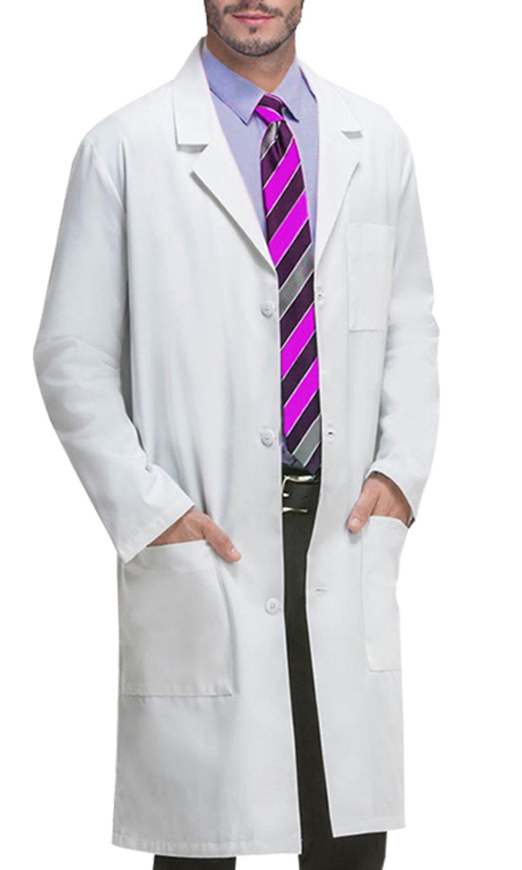 VOGRYE Professional Lab Coat for Women Men Long Sleeve, White, Unisex. (L, White2)