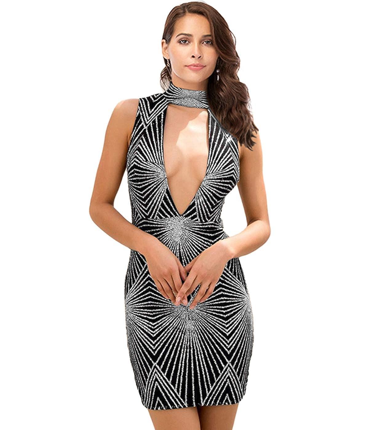 Black Silver 2 Zshujun 1920s Glitter Sequin Summer Casual Club Mini Party Dress for Women Club Bodycon Gowns 2547