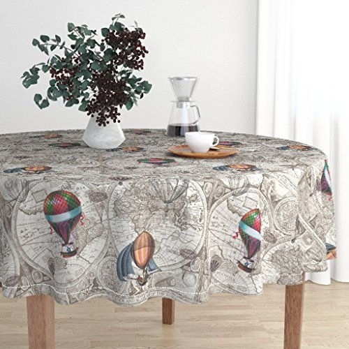 Roostery Round Tablecloth - Hot Air Balloons Antique Map Brown Beige World Map Travel Wanderlust Steampunk by Aftermyart - Cotton Sateen Tablecloth 90in