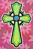 Toland Home Garden Pink and Green Cross 28 x 40 Inch Decorative Colorful Easter Flower Religious Inspirational House Flag