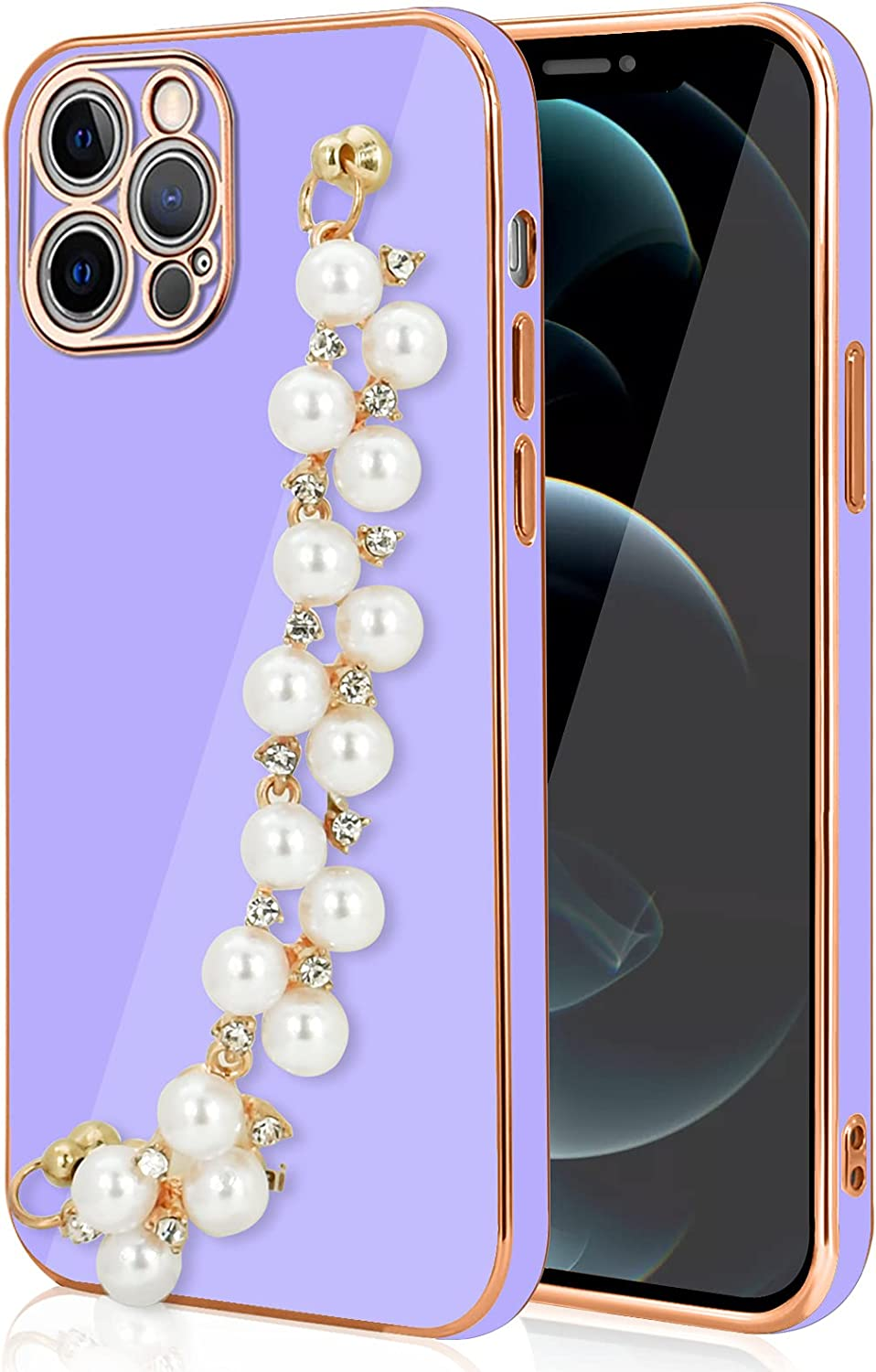WOYAOFA for iPhone 12 Pro Crystal Diamond Silicone Phone Case for Women Girl, Shiny Luxury Rhinestone Pearl Bracelet, Wrist Strap and Plating Soft TPU Bumper,Slim and Cute Protective Cover-Purple