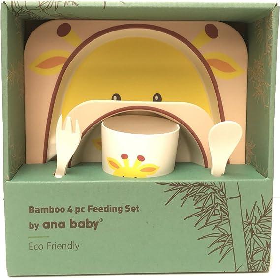 Set de table 5 pi/èces en bambou pour enfant passe au lave-vaisselle 100//% fibre de bambou respectueux de lenvironnement motif girafe