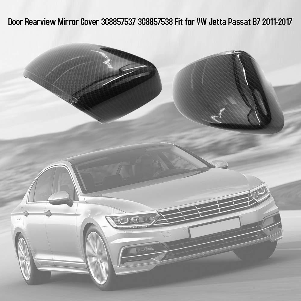 KKmoon Car Door Rearview Side Wing Mirror Cover Caps 3C8857537 3C8857538 Fit for VW Jetta Passat B7 2011-2017
