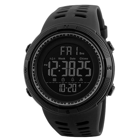Reloj Digital para Hombre Deportivo Militar Resistente al Agua Reloj de Pulsera Casual Electrónico con Alarma Calendario Cronómetro Color Negro: Amazon.es: ...
