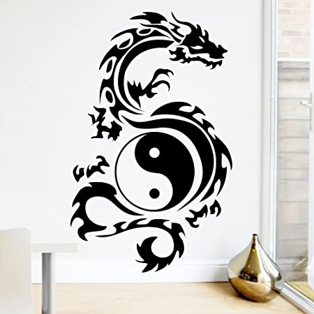 a2604c988 Wall Sticker Loft Tribal Symbol Yin Yang Dragon Wall Tattoo 49 Colours/3  Sizes/Wall Sticker, Vinyl, black, 55 x 88 cm (B x H): Amazon.co.uk: Kitchen  & Home