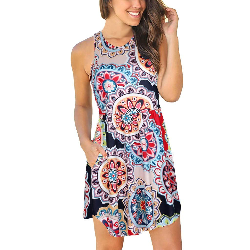 Tanlo 2019 Summer Women's Boho Sleeveless with Pockets Floral Print Dress Casual Loose O-Neck Ladies Vest Sundress (Multicolor, M)