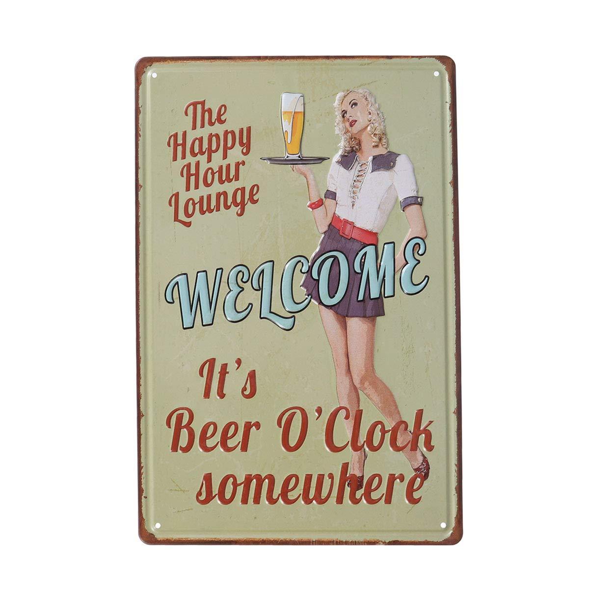 Lheureux Salon dheure Vosarea Plaque en m/étal Vintage R/étro Rustique D/écoration Plaque Vintage pour Maison Cafe Bar Pub Bi/ère D/écoration