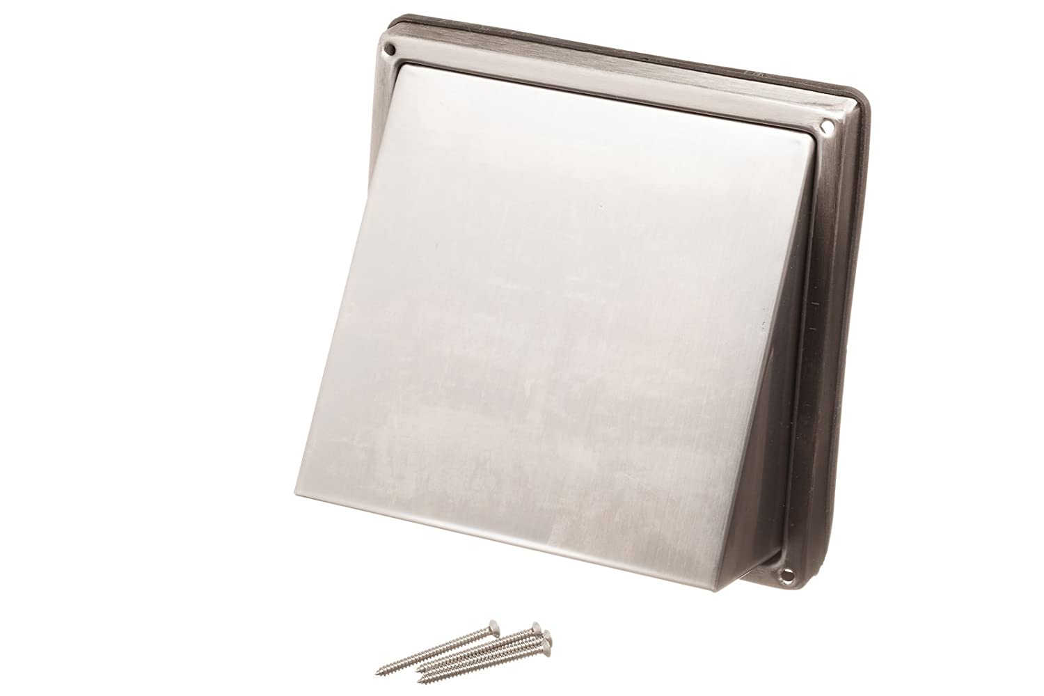 NaplesUK Stainless Steel Cowled External Extractor Wall Vent Outlet with Cushioned Non Return Flap Rear Spigot To Fit (150mm, 6') Ducting 6) Ducting Verplas