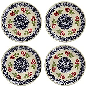 Polish Pottery Red Cherry Blossom Floral Salad Plates, Set of 4 (7.25″ Diameter)