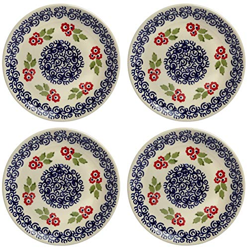 - Polish Pottery Red Cherry Blossom Floral Salad Plates, Set of 4 (7.25