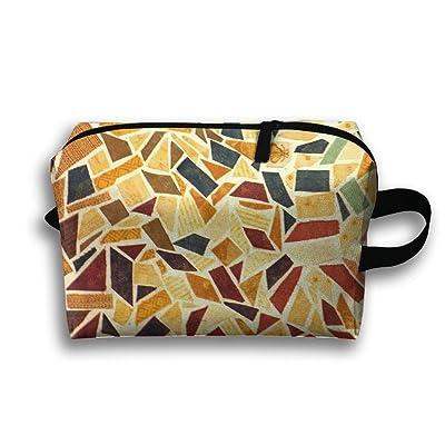 Travel Bag Irregular Floor Tiles Texture Pattern Cosmetic Bags Brush Pouch Portable Makeup Bag Zipper Wallet Hangbag Pen Organizer Carry Case Wristlet Holder