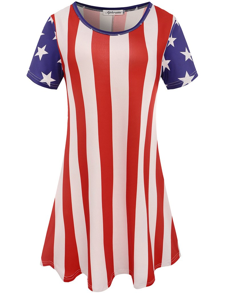 Aphratti Women's Short Sleeve July 4th Summer Gift Print Casual Flare Swing Dress American Flag X-Large