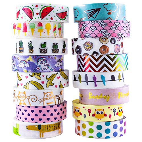 Aloha Washi Tape Set 16 Rolls of Decorative Masking Tape for Bullet Journals, Day Planners, Gift Wrapping and DIY Scrapbooking -