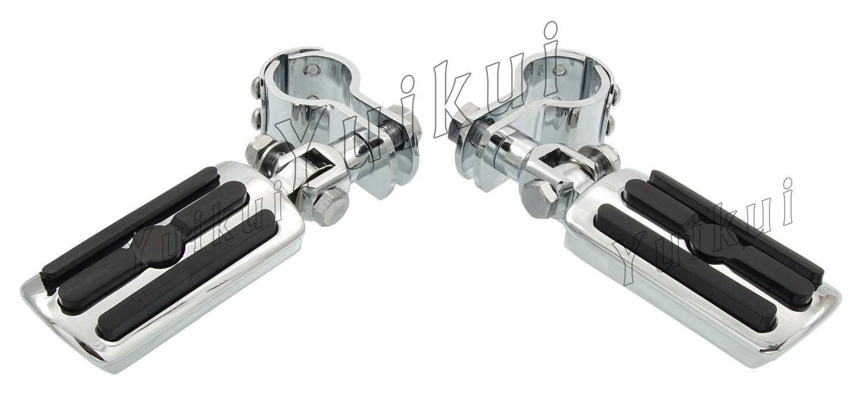 YUIKUI RACING オートバイ汎用 1-1/4インチ(32mm)/1インチ(25.4mm)エンジンガードのパイプ径に対応 ハイウェイフットペグ タンデムペグ ステップ KAWASAKI 500 VULCAN/VULCAN LTD All years等適用   B07Q2FCHFK