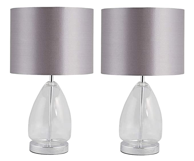 Pair Of Forde Modern Glass Table Lamps Bedside Lights With Matching Grey Fabric Shades