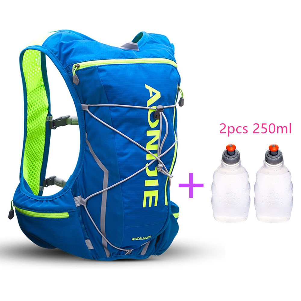 AONIJIE Trail Marathon Running Vest Pack 10L Sport Bag Hiking Camping Hydration Backpack Water Bottle Holder+Water Bottle(Optional),L/XL,Blue with 2 Water Bottles