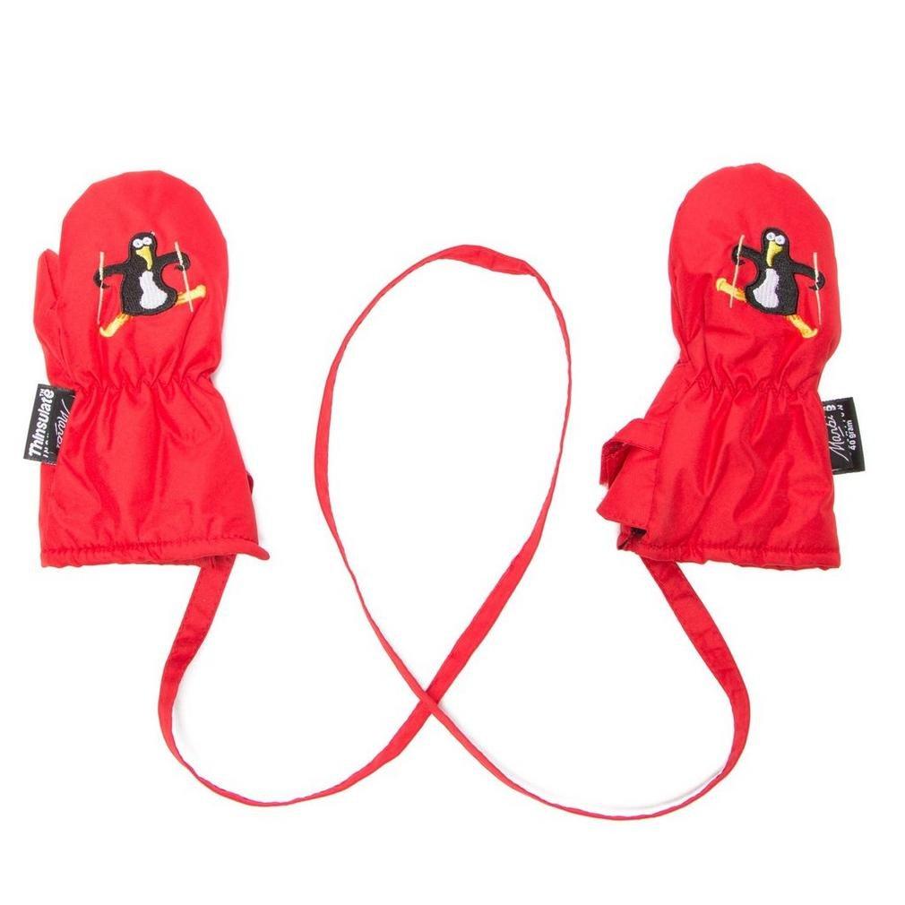 Manbi, guanti muffole da neve da bambino e neonato con cordino antiperdita Red 1 a 6 mesi