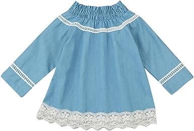 Bebé hombro princesa tutú tul serigrafía Encaje vestido Denim ropa ...