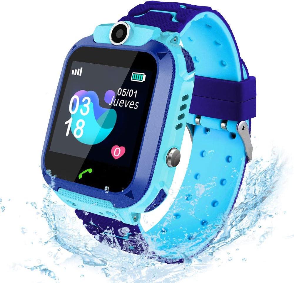 AIMIUVEI Smartwatch Niños, Reloj Inteligente Niño IP67, LBS, Llamada Bidireccional, SOS Modo de Clase, Cámara, Juegos, Regalo para Niño Niña de 3-12 años, Smartwatch soporta 2G Tarjeta Micro SIM