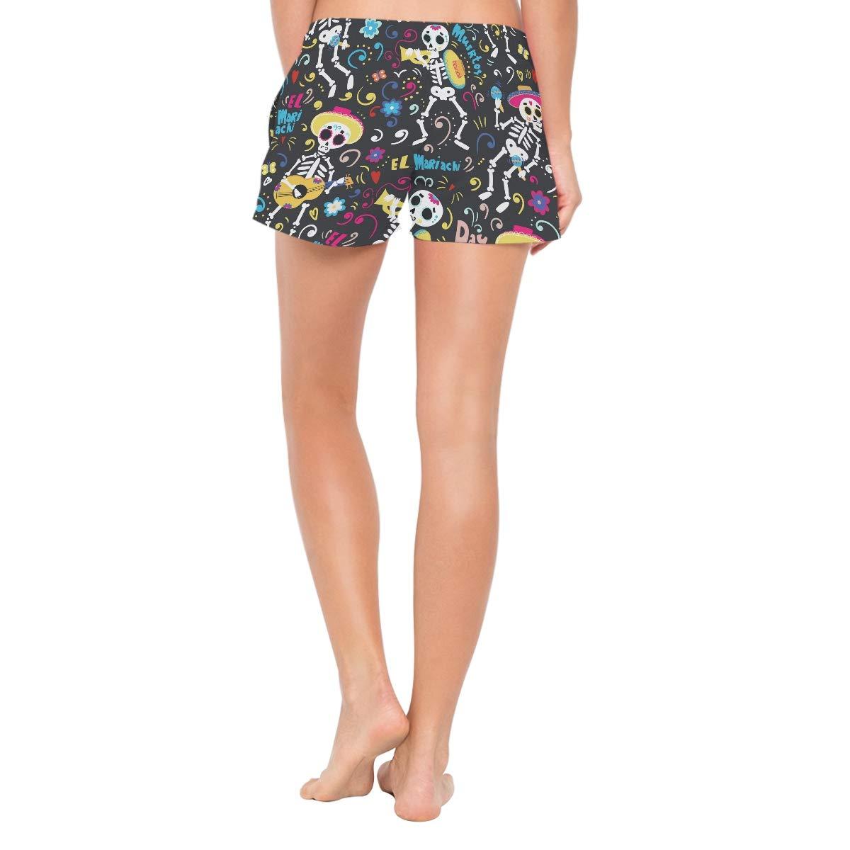 L Depaga Cartoon Skull Womens Board Shorts with Pockets Quick Dry Drawstring Beach Swim Trunks S