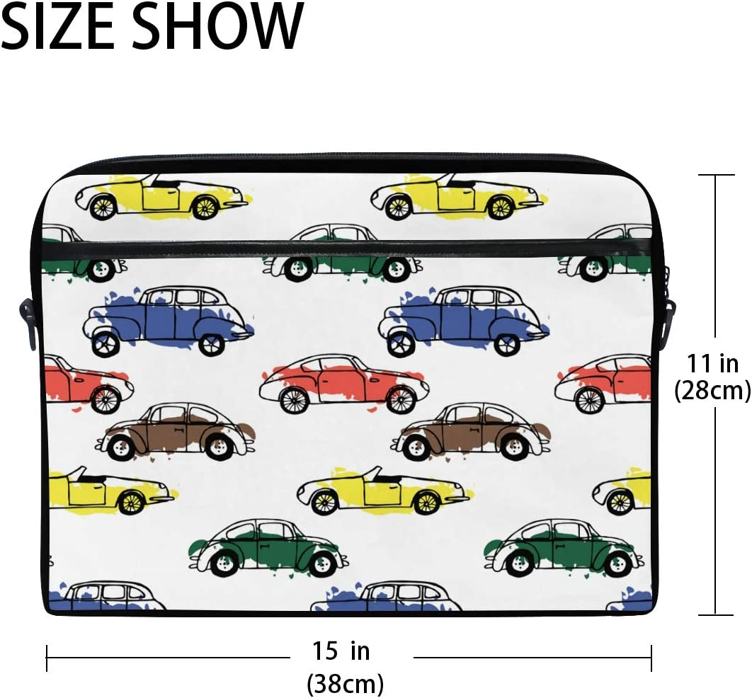 HELVOON Cartoon Colorful Pattern Laptop Shoulder Messenger Bag Computer Briefcase Business Notebook Sleeve Cover Carrying Handle Bag for 14 inch to 15.4 inch