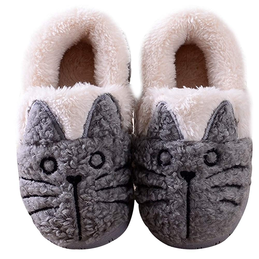 Winter Winter Toddlers Cute Cat Warm House Slippers Booties Grey 4.5-5.5 B(M) US Toddler