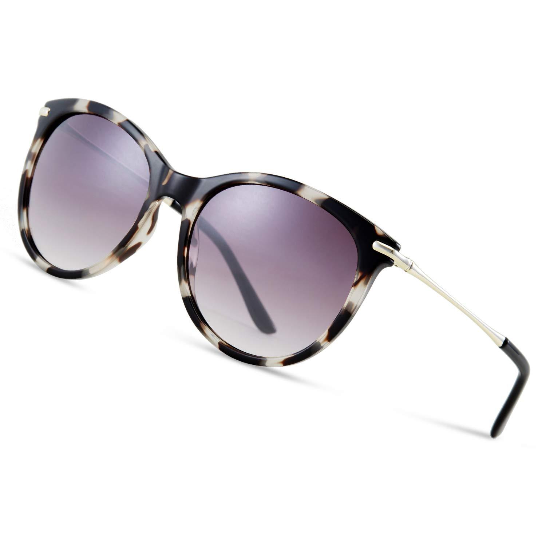 Polarised Sunglasses for Women Vintage Ladies Sunglasses Retro Designer Sunglass UV 400 Protection Sunglasses Superlight Frame with PC Lens HZS-YF03-Gray