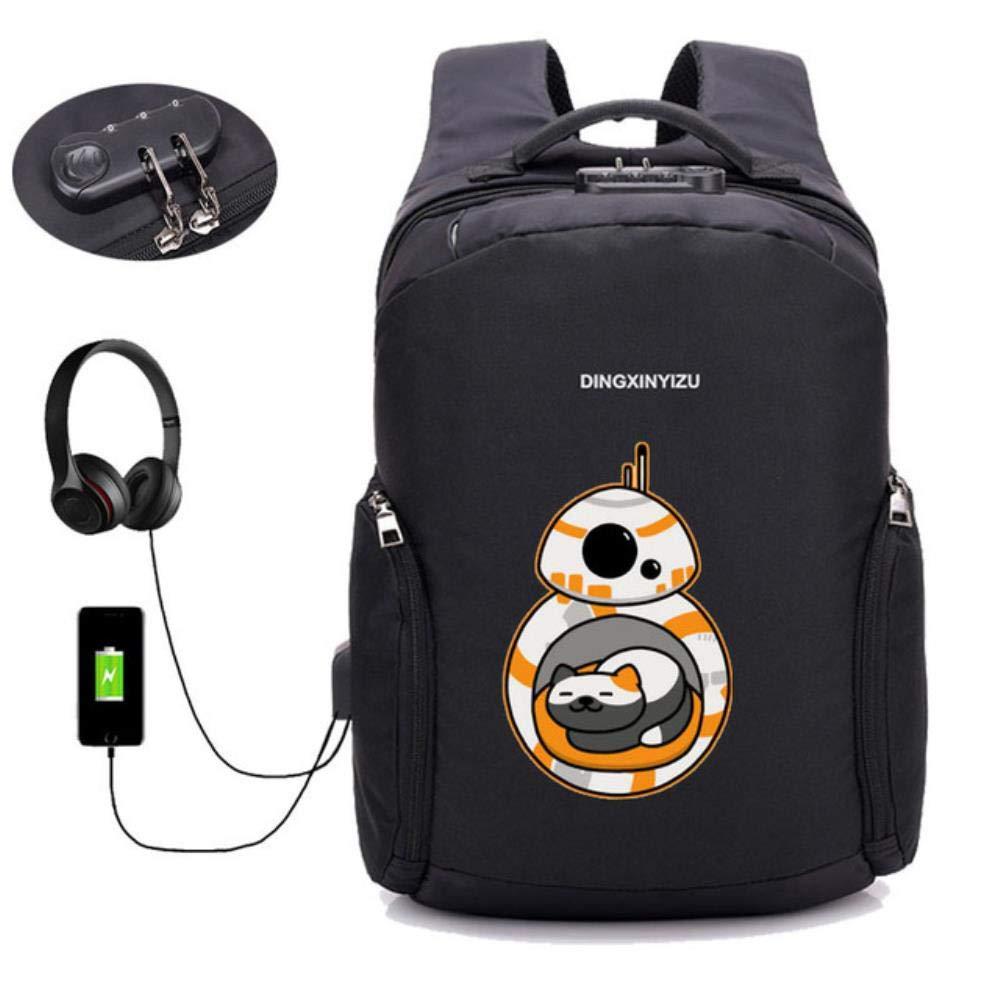 A21 GuiSoHn AntiTheft USB Charging Backpack Anime Neko Atsume Daypack Student School Bag Teenagers Laptop Travel Rucksack