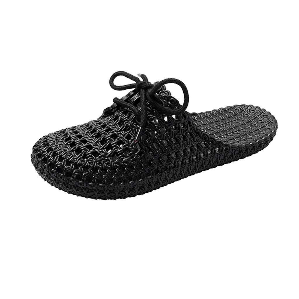 KINGOLDON Womens Lace Up Slippers Non Slip Soft Bottomed Flat Sandals Bathing Slippers