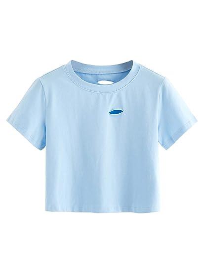 d1cd2a31511b0 SweatyRocks Women s Summer Short Sleeve Tee Distressed Ripped Crop T-Shirt  Tops (X-