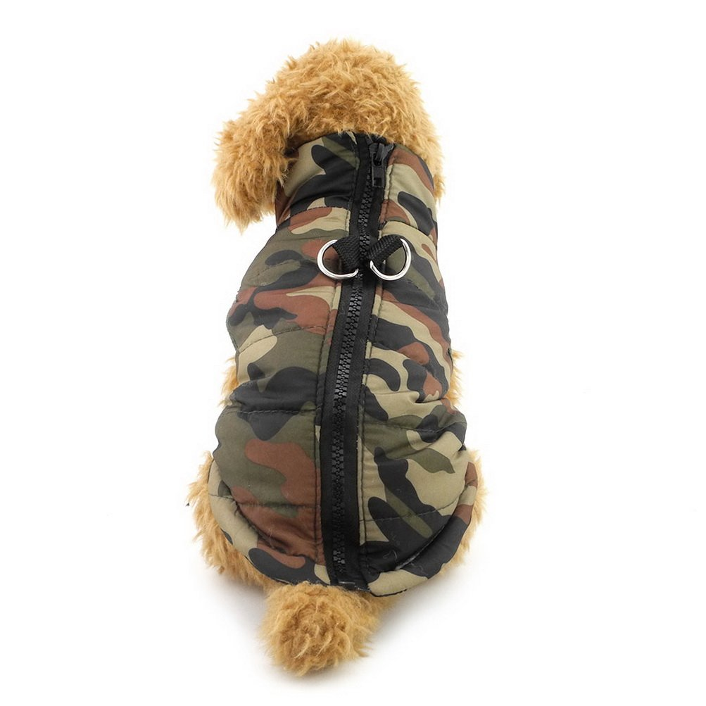 ZUNEA Winter Small Dog Vest Harness Cotton Padded Skull Boy Male Pet Cat Puppy Coat Jacket Xmas Christmas Costume Blue L