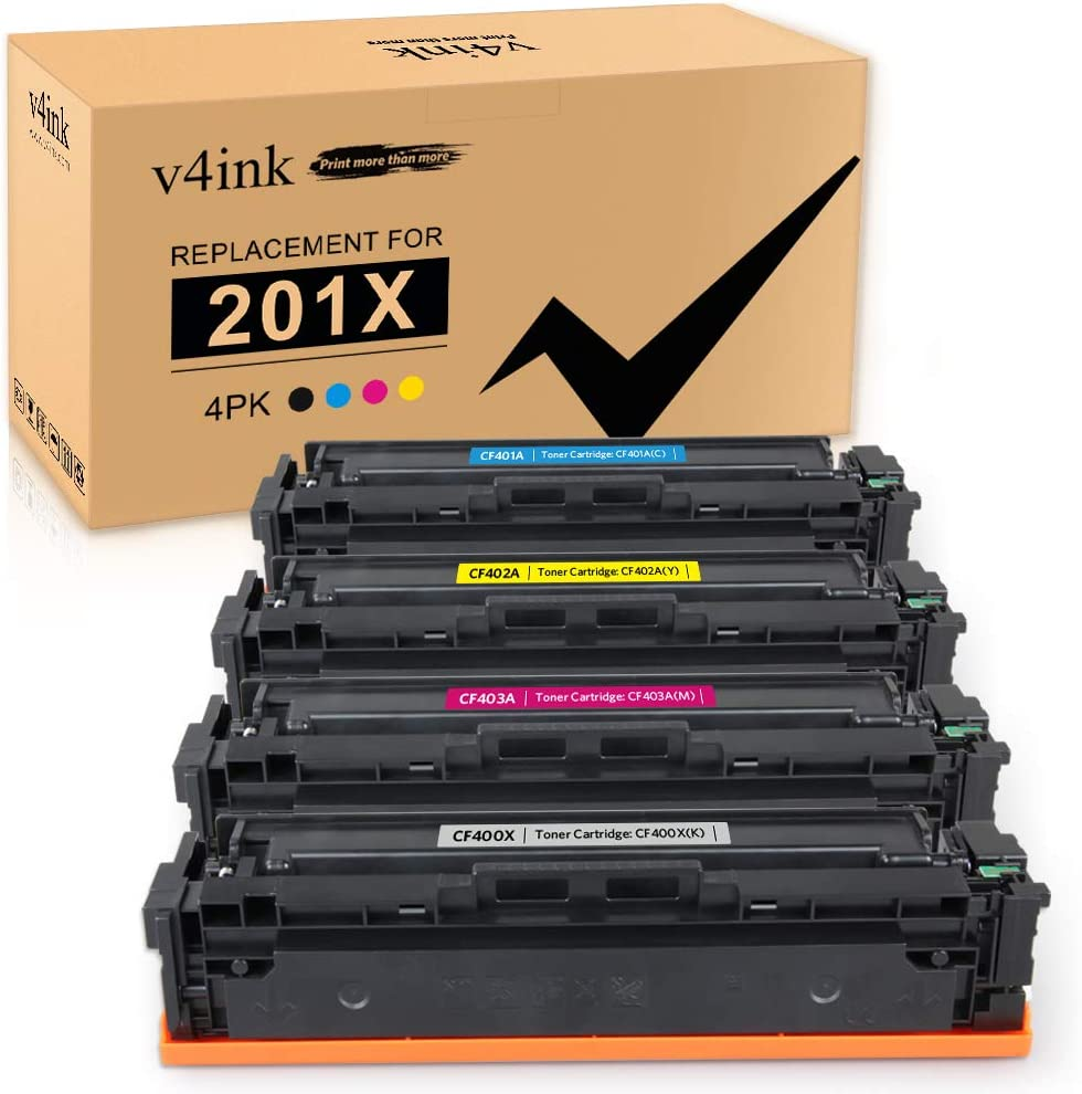 v4ink Compatible Toner Cartridge Replacement for HP 201X CF400X CF401X CF402X CF403X for use in HP Color Laserjet Pro M252dw M252n MFP M277dw M277n M274N Printer (Black Cyan Magenta Yellow 4 Packs)