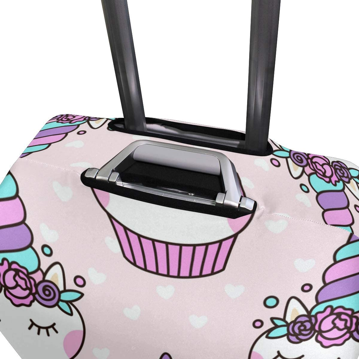 FOLPPLY Cute Unicorn Cupcake Pattern Luggage Cover Baggage Suitcase Travel Protector Fit for 18-32 Inch