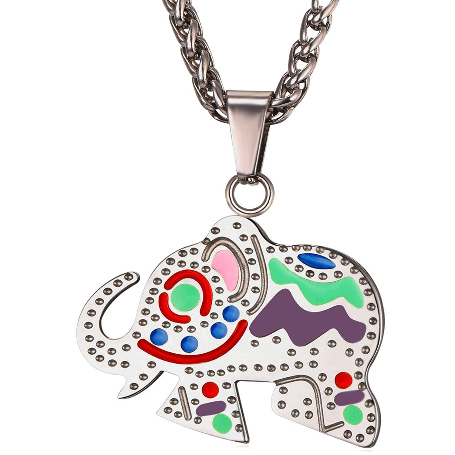 Amulet Necklace U7 Lucky Jewelry Women Girls Stainless Steel Chain Colorful Enamel Elephant Pendant