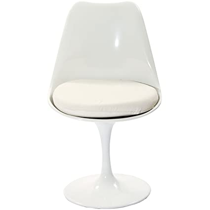 Modway Lippa Modern Dining Side Chair With Fabric Cushion In White