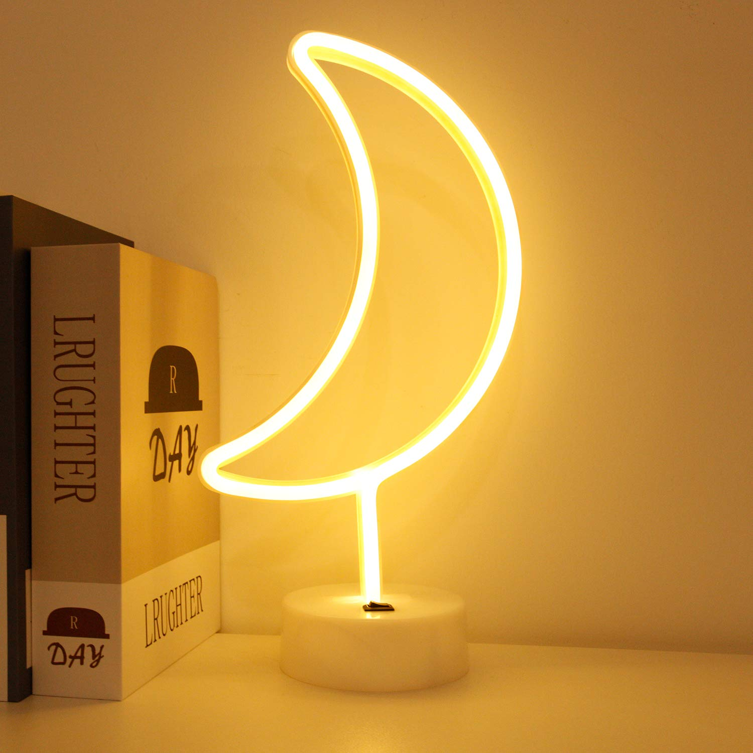 BHCLIGHT LED Moon Neon Light Signs Room Decor with Holder Base Night Lights Indoor Decor Battery Operated Light up Sign Bedside Table Lamps Neon Signs for Home Decoration Children GIF