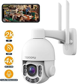 Topcony Cámara de Vigilancia WiFi Exterior,Cámara de Material metálico antivandalico, IP PTZ 5MP IP66 H.265 4 X Zoom óptico IR Visión Nocturna, Audio Bidireccional, Detección de Movimiento PIR: Amazon.es: Electrónica
