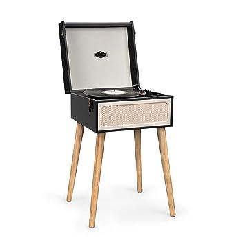 auna Sarah ANN - Tocadiscos con Altavoces Integrados , Tocadiscos Retro para Discos de Vinilo , Bluetooth , Conector de Auriculares , USB , 33, 45 y ...