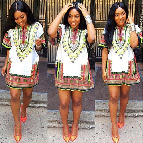 africana Vestiti Stampa ginocchio Mini abito Amlaiworld sopra Donna tradizionale PqIHxwgOg