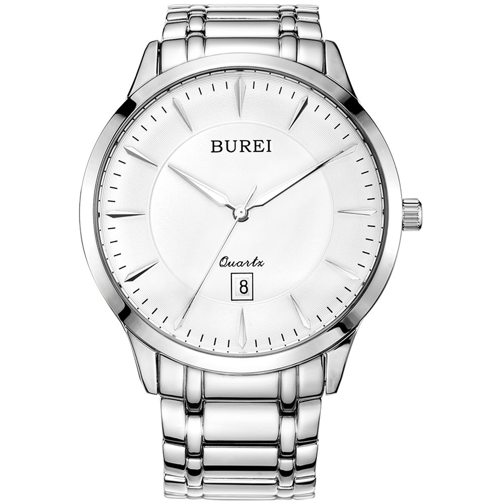 BUREI Mens Simple Quartz Casual Watches with Simple Dial Date Calendar Sapphire Glass Stainless Steel Bracelet