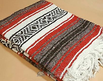 Auténtica manta mexicana de 47 x 68 pulgadas, manta falsa tejida tradicional para yoga, viajes, camping, estilo rústico suroeste o decoración ...