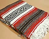 Authentic Mexican Blanket 47''x68'' -Traditional Woven Falsa Blanket for Yoga, Travel, Camping Rustic Southwest Style or Western Decor. (Tabasco)