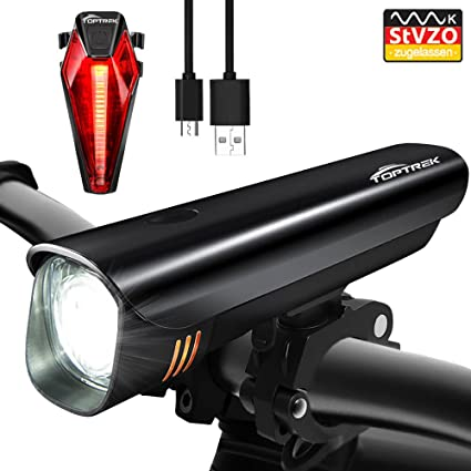 Toptrek Fahrradlicht Stvzo Zugelassen Led Fahrradbeleuchtung Fahrradlichter Set Frontlichter Rücklicht Usb Wiederaufladbare Samsung Li Ion